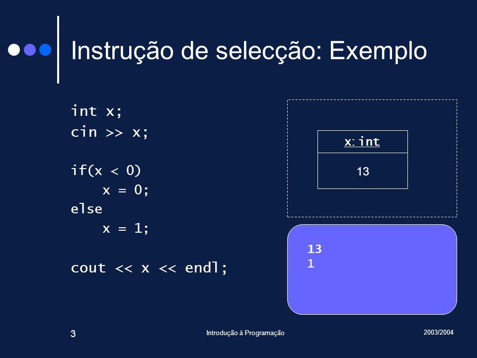 2003/2004 Introdução à Programação 3 Instrução de selecção: Exemplo int x; cin >> x; if(x < 0) x = 0; else x = 1; cout << x << endl; 13 1 x : int 1 .