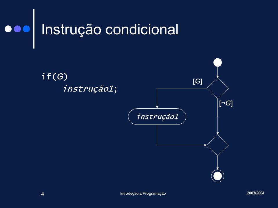 2003/2004 Introdução à Programação 5 Instrução condicional: Exemplo int x; cin >> x; if(x < 0) x = 0; cout << x << endl; 13 x : int 13 x : int ?
