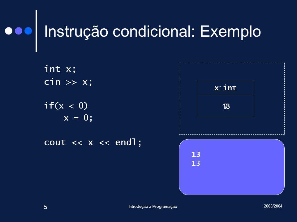 2003/2004 Introdução à Programação 46 Instrução de selecção (II) Sabendo que min máx // PC: mín máx if( C 1 ) // PC 1 : v < mín ou ( máx < v e mín = máx ) ou ( v máx e mín = v ) // v < mín ou ( máx < v e mín = máx ) ou mín = v // v mín ou ( máx < v e mín = máx ) r = mín; else if( C 2 ) // PC 2 : ( v < mín e máx = mín ) ou máx < v ou ( mín v e máx = v ) // ( v < mín e máx = mín ) ou máx < v ou máx = v // ( v < mín e máx = mín ) ou máx v r = máx; else // PC 3 : mín v e v máx r = v;