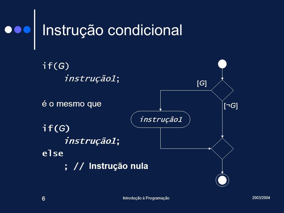 2003/2004 Introdução à Programação 47 Instrução de selecção (III) // PC: mín máx if( C 1 ) // PC 1 : v mín ou ( máx < v e mín = máx ) r = mín; else if( C 2 ) // PC 2 : ( v < mín e máx = mín ) ou máx v r = máx; else // PC 3 : mín v e v máx r = v; Diferente de 0 valor Sobreposições!