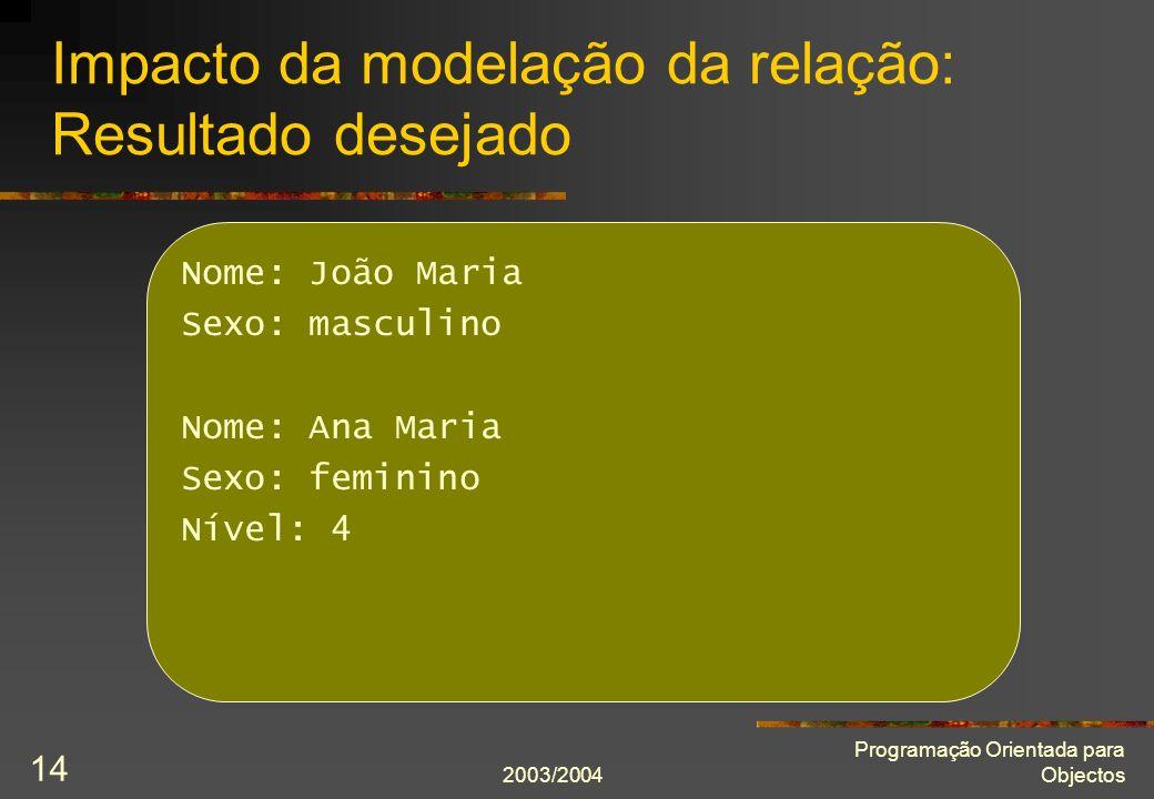 2003/2004 Programação Orientada para Objectos 14 Impacto da modelação da relação: Resultado desejado Nome: João Maria Sexo: masculino Nome: Ana Maria Sexo: feminino Nível: 4