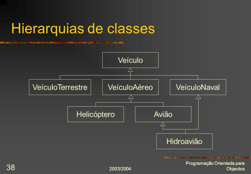 2003/2004 Programação Orientada para Objectos 38 Hierarquias de classes Veículo VeículoAéreoVeículoTerrestreVeículoNaval HelicópteroAvião Hidroavião