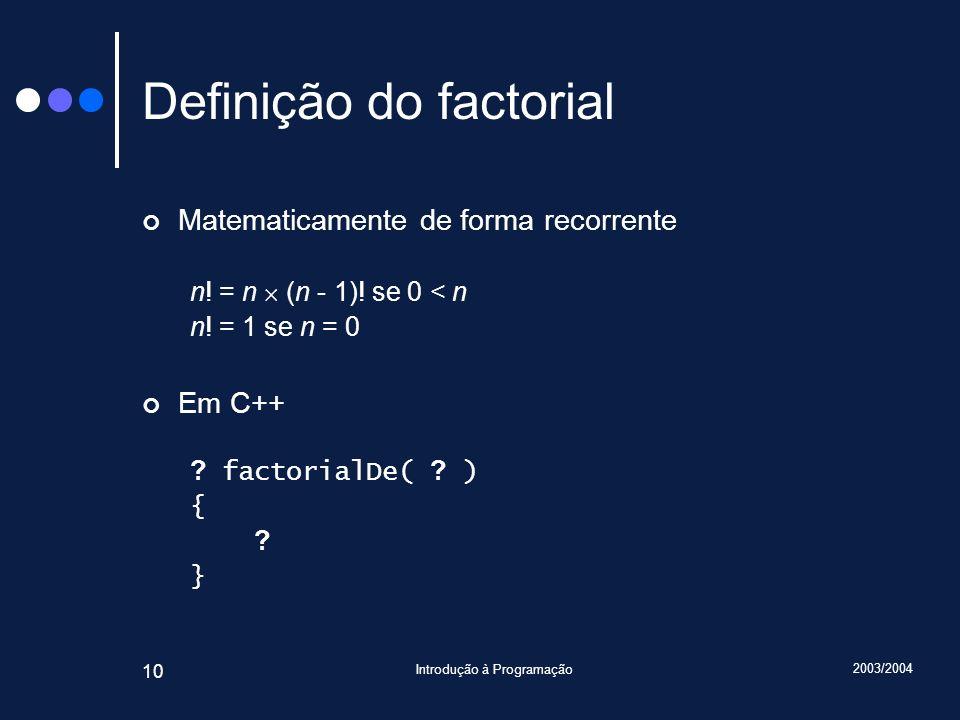 2003/2004 Introdução à Programação 10 Definição do factorial Matematicamente de forma recorrente n.