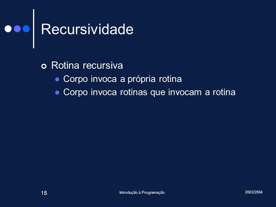 2003/2004 Introdução à Programação 15 Recursividade Rotina recursiva Corpo invoca a própria rotina Corpo invoca rotinas que invocam a rotina