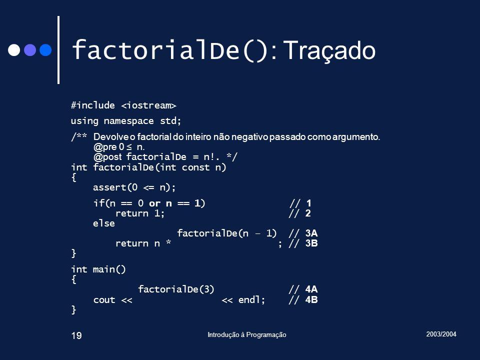 2003/2004 Introdução à Programação 19 factorialDe() : Traçado #include using namespace std; /** Devolve o factorial do inteiro não negativo passado como argumento.
