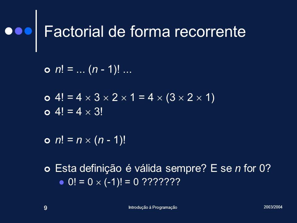 2003/2004 Introdução à Programação 20 retorno a 4B n : int 3 retorno a 3B n : int 1 retorno a 3B Traçado Topo da pilha retorno a 4B n : int 3 retorno a 4B n : int 3 2 2 retorno a 3B retorno a 4B n : int 3 retorno a 4B n : int 3 2 : int 1 2 6 Valor devolvido O mesmo que {frozen}