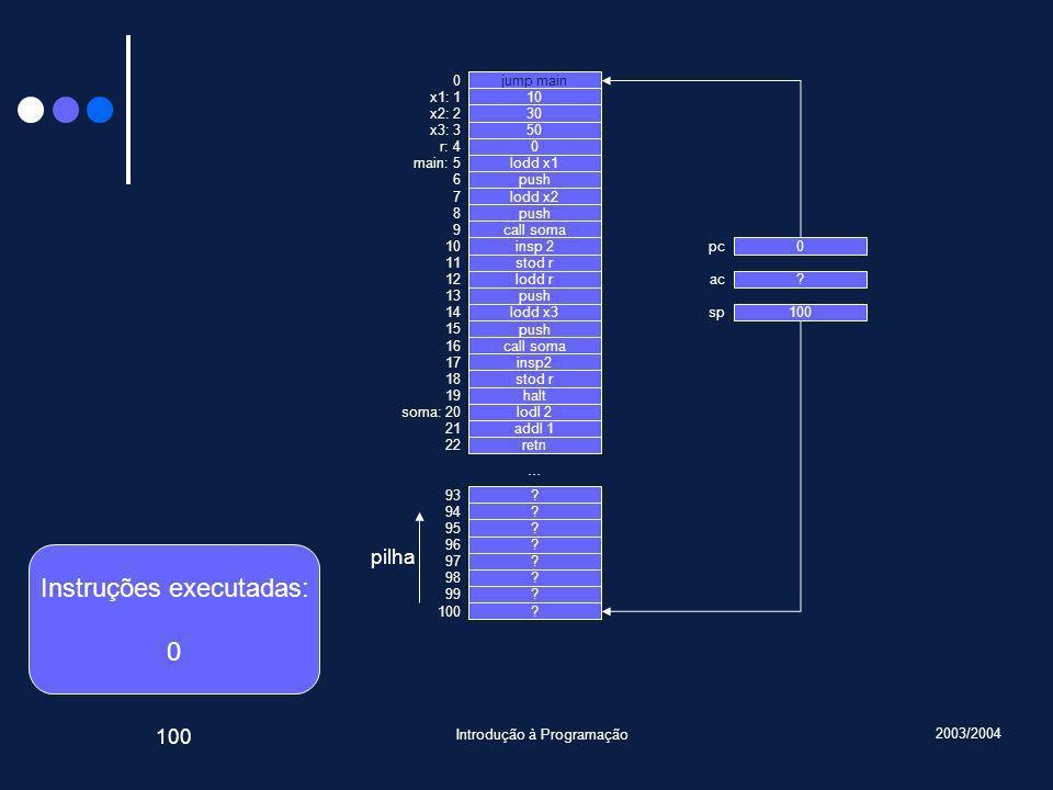2003/2004 Introdução à Programação 100 jump main 10 30 50 0 lodd x1 push lodd x2 push call soma insp 2 stod r lodd r push lodd x3 push call soma insp2 stod r halt lodl 2 addl 1 retn .