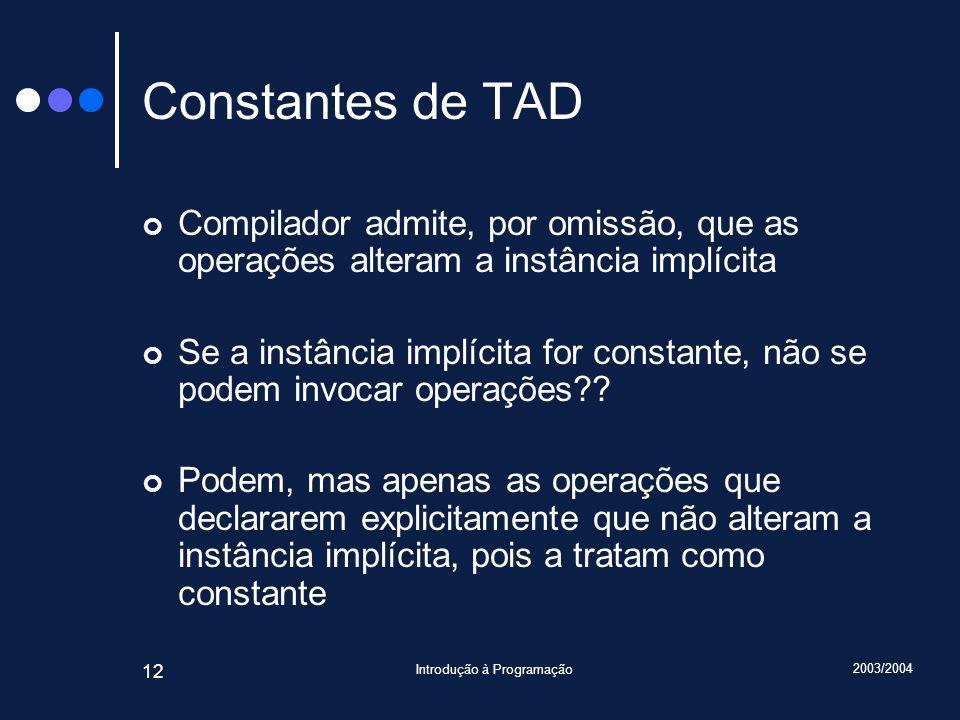 2003/2004 Introdução à Programação 12 Constantes de TAD Compilador admite, por omissão, que as operações alteram a instância implícita Se a instância implícita for constante, não se podem invocar operações?.