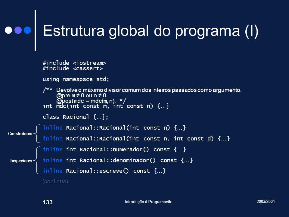 2003/2004 Introdução à Programação 133 Estrutura global do programa (I) Construtores Inspectores