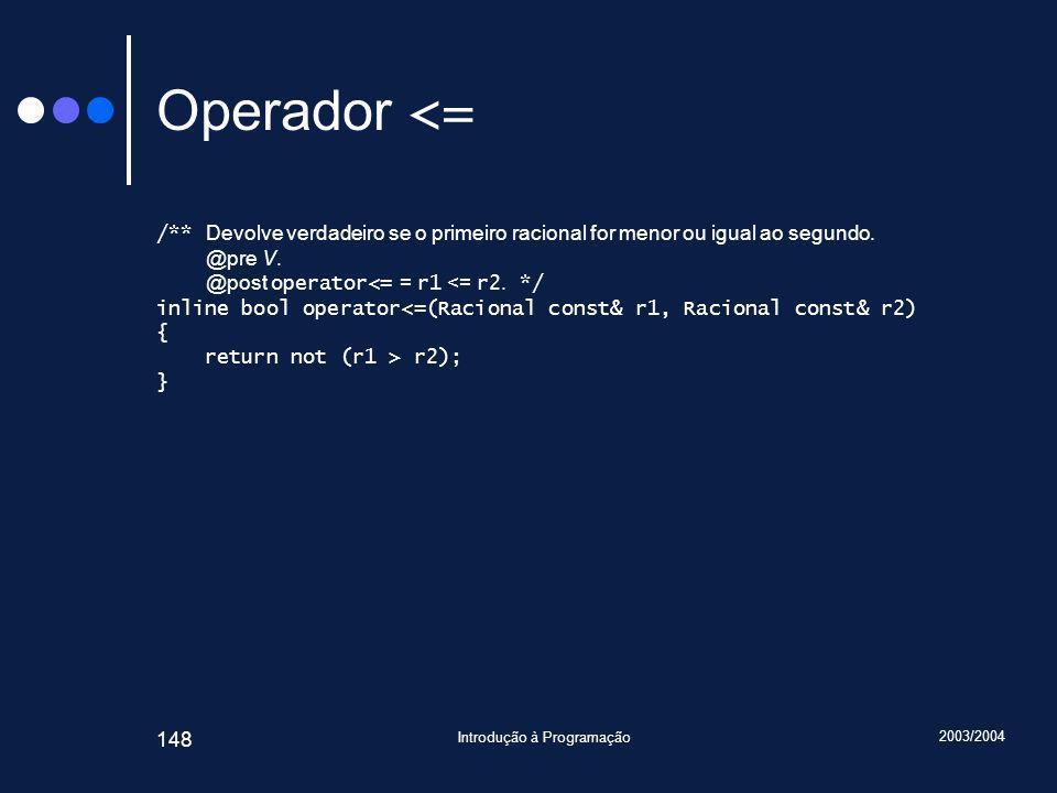 2003/2004 Introdução à Programação 148 Operador <= /** Devolve verdadeiro se o primeiro racional for menor ou igual ao segundo.