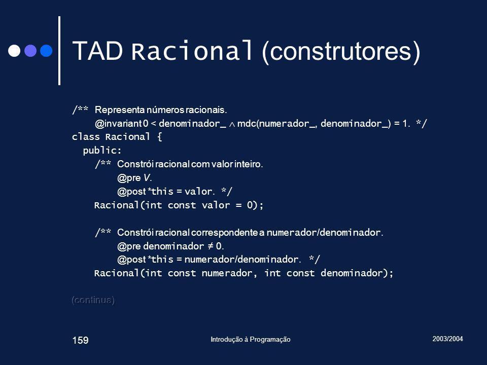 2003/2004 Introdução à Programação 159 TAD Racional (construtores)