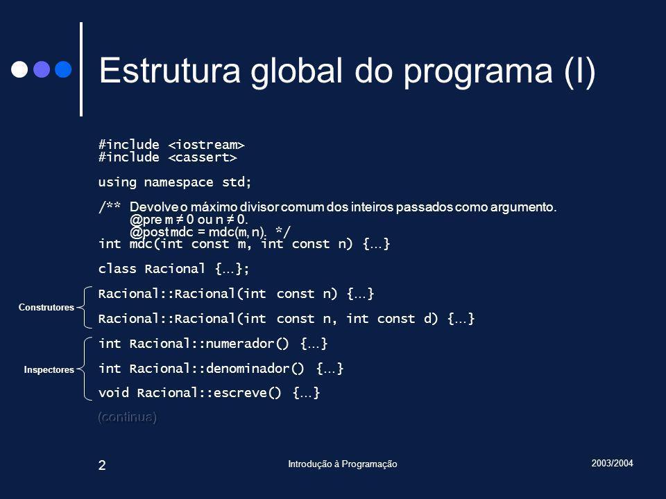 2003/2004 Introdução à Programação 23 Métodos afectados void Racional::escreve() const { assert(cumpreInvariante()); cout << numerador(); if(denominador() != 1) cout << / << denominador(); assert(cumpreInvariante()); } Desnecessário.