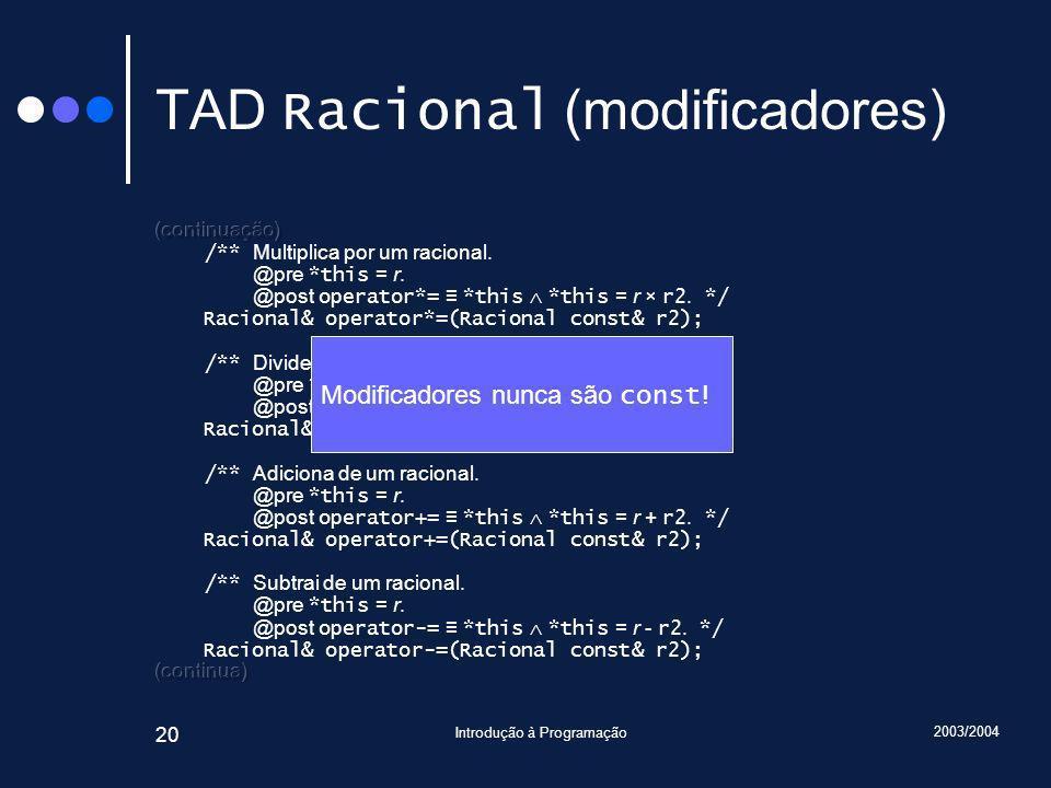 2003/2004 Introdução à Programação 20 TAD Racional (modificadores) Modificadores nunca são const !