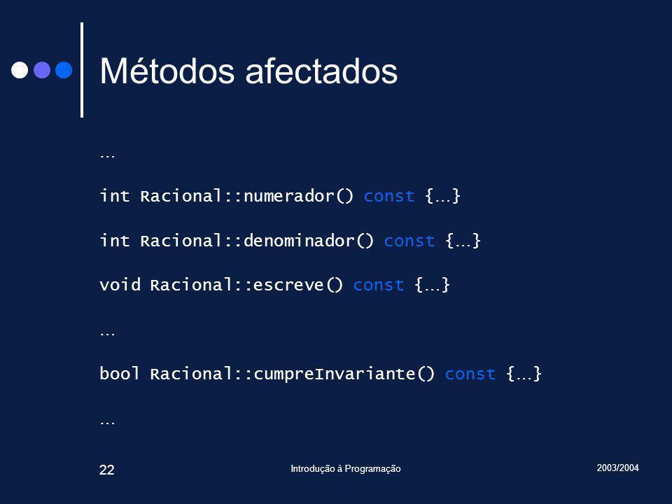 2003/2004 Introdução à Programação 22 Métodos afectados … int Racional::numerador() const { … } int Racional::denominador() const { … } void Racional::escreve() const { … } … bool Racional::cumpreInvariante() const { … } …
