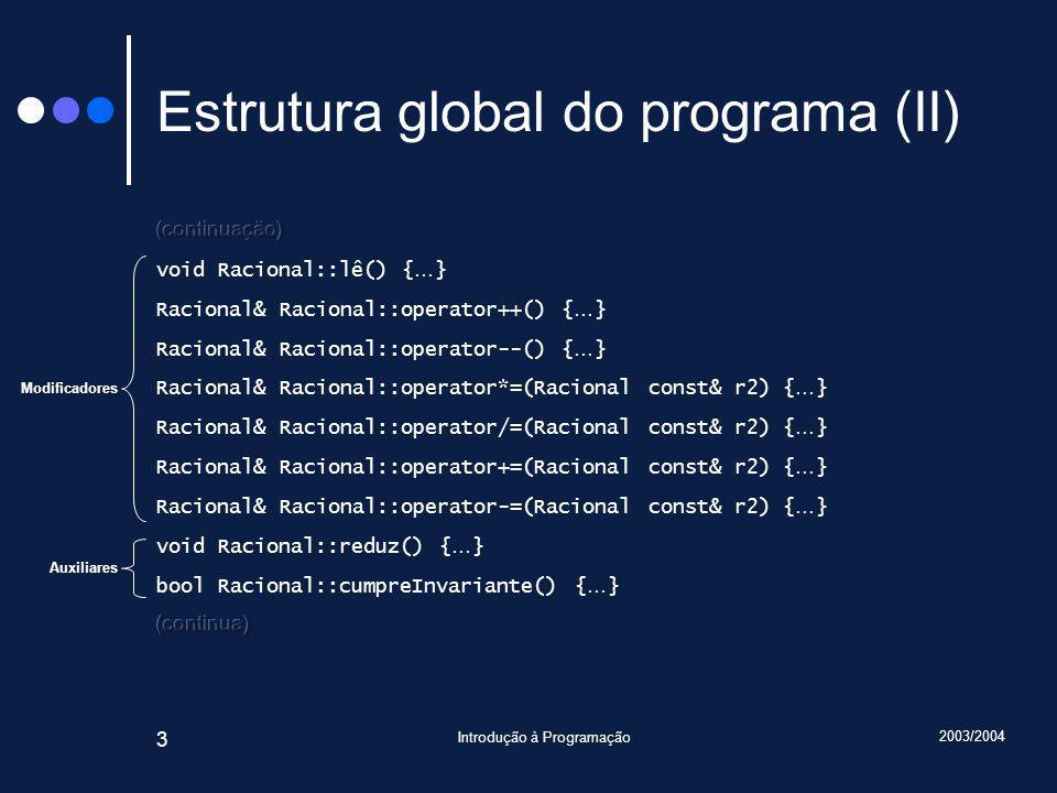 2003/2004 Introdução à Programação 24 Métodos afectados void Racional::escreve() const { assert(cumpreInvariante()); cout << numerador(); if(denominador() != 1) cout << / << denominador(); }