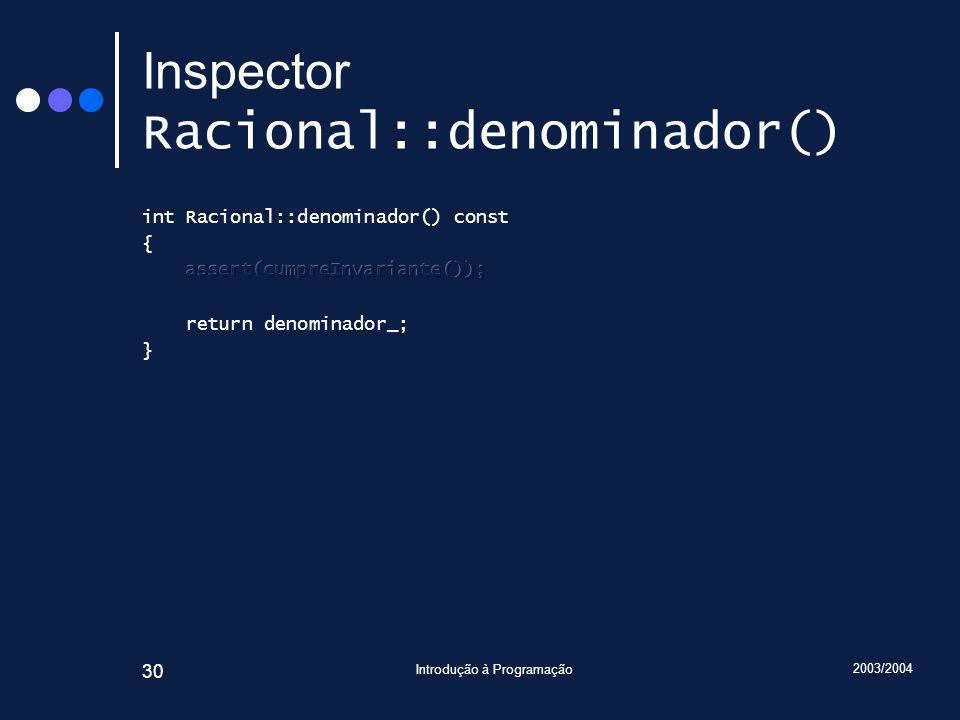 2003/2004 Introdução à Programação 30 Inspector Racional::denominador()