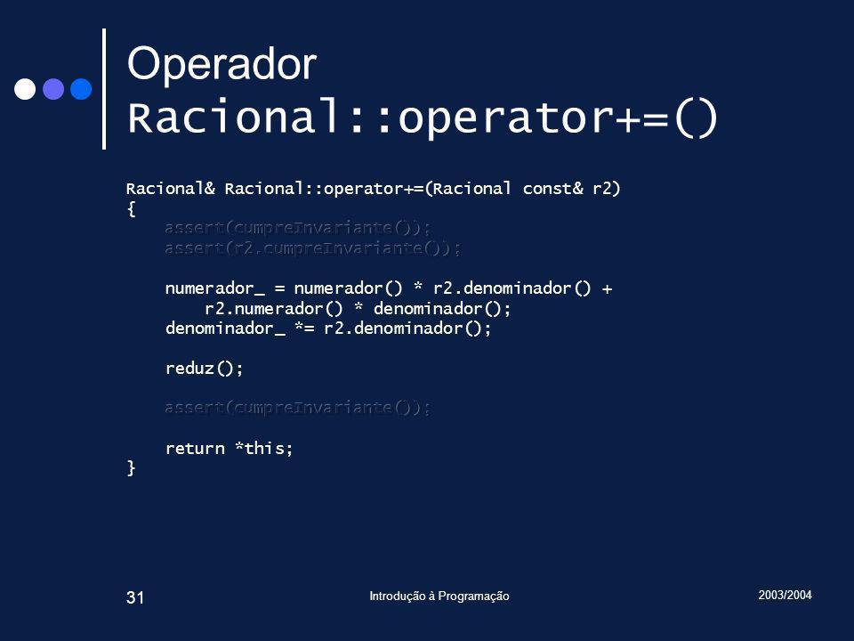 2003/2004 Introdução à Programação 31 Operador Racional::operator+=()