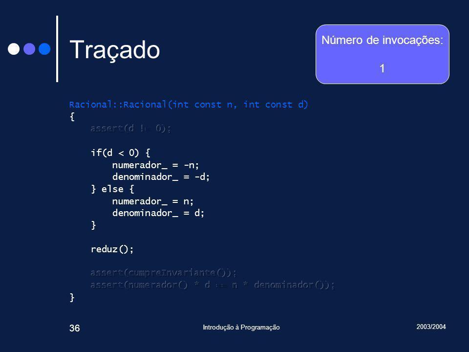 2003/2004 Introdução à Programação 36 Traçado Número de invocações: 1