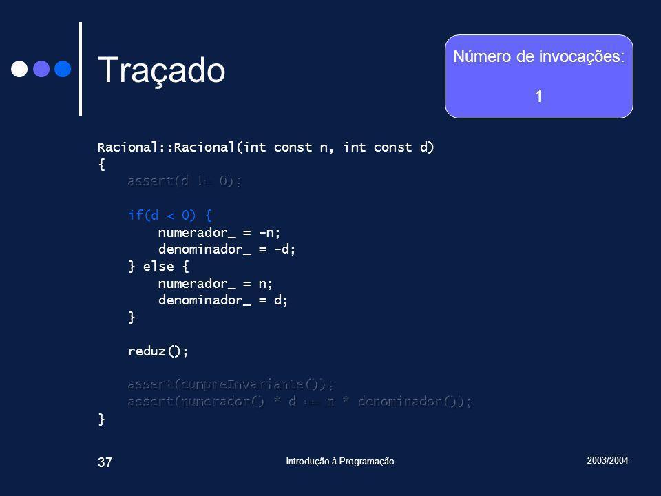 2003/2004 Introdução à Programação 37 Traçado Número de invocações: 1