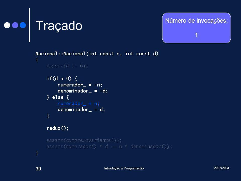 2003/2004 Introdução à Programação 39 Traçado Número de invocações: 1