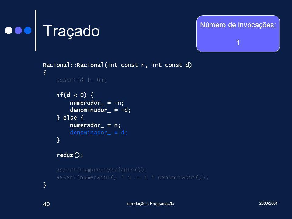 2003/2004 Introdução à Programação 40 Traçado Número de invocações: 1