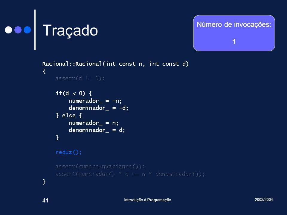 2003/2004 Introdução à Programação 41 Traçado Número de invocações: 1