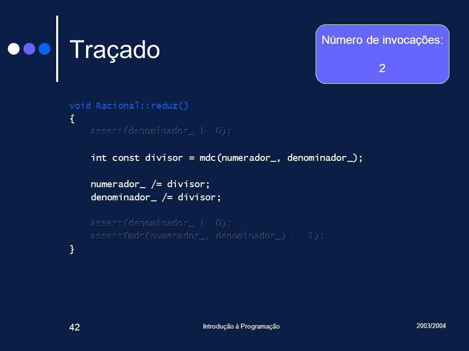 2003/2004 Introdução à Programação 42 Traçado Número de invocações: 2