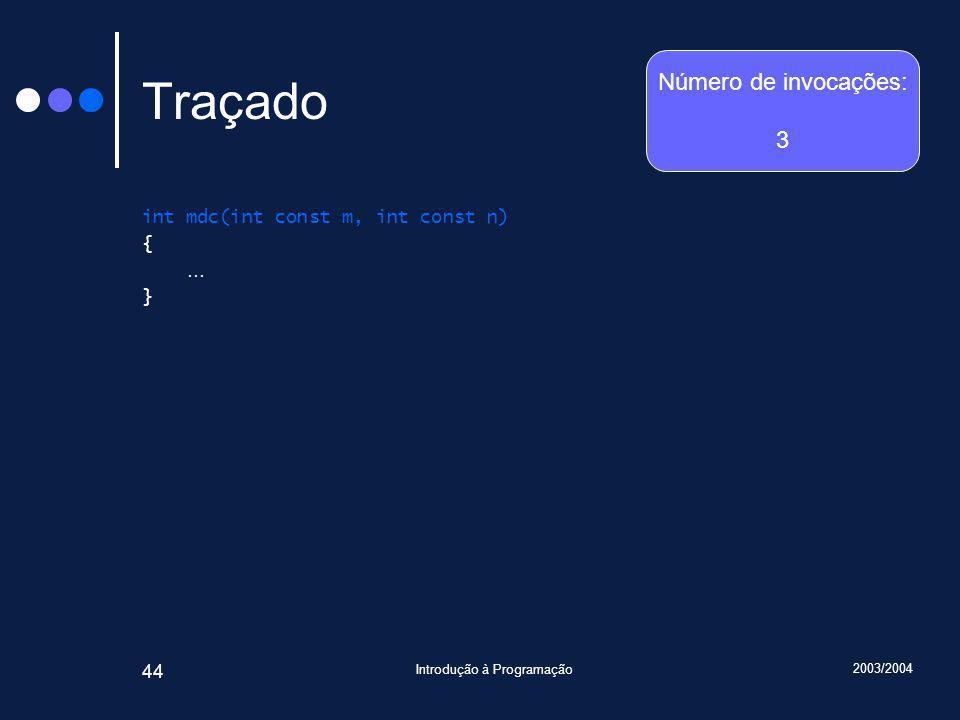 2003/2004 Introdução à Programação 44 Traçado int mdc(int const m, int const n) { … } Número de invocações: 3