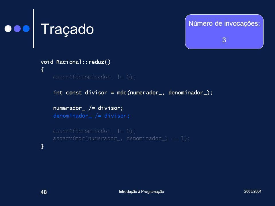 2003/2004 Introdução à Programação 48 Traçado Número de invocações: 3