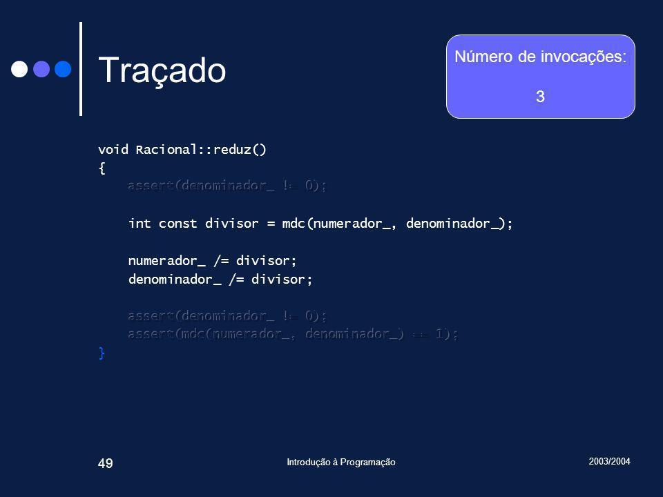 2003/2004 Introdução à Programação 49 Traçado Número de invocações: 3
