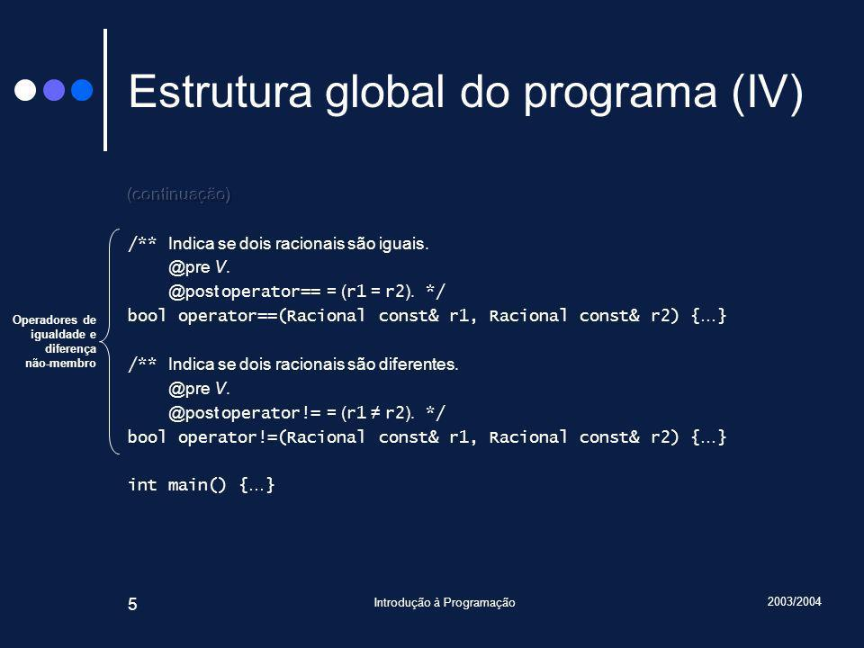 2003/2004 Introdução à Programação 136 Estrutura global do programa (IV) Operadores de igualdade e diferença