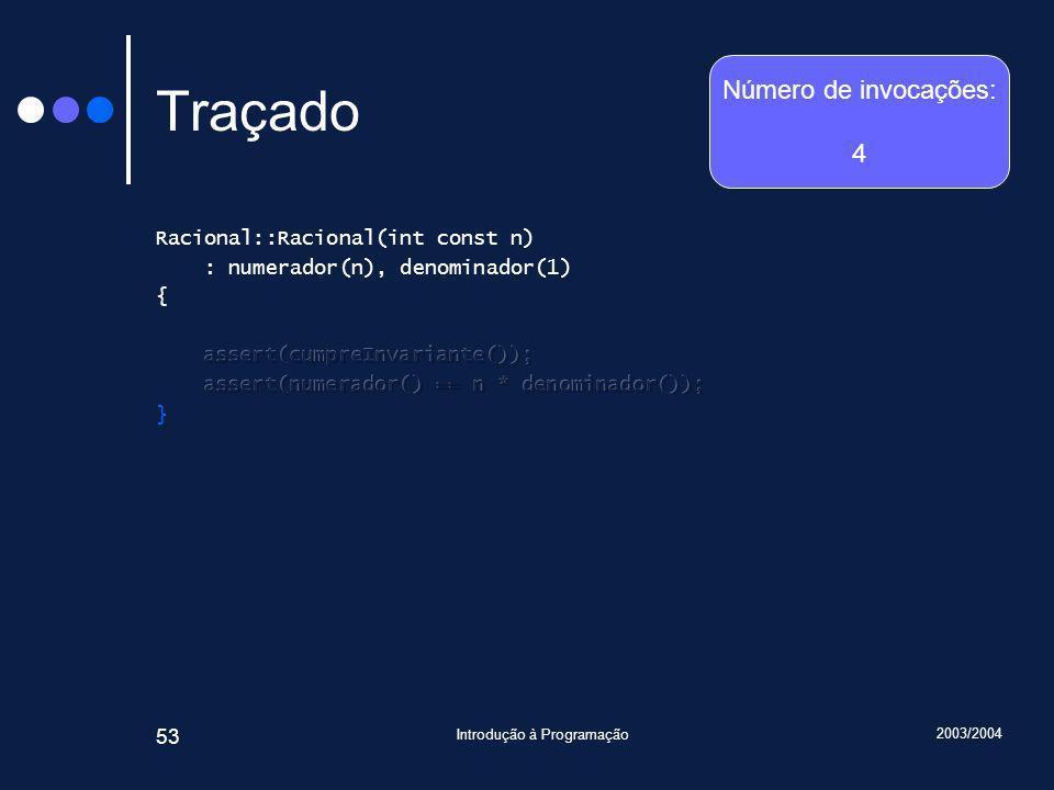 2003/2004 Introdução à Programação 53 Traçado Número de invocações: 4