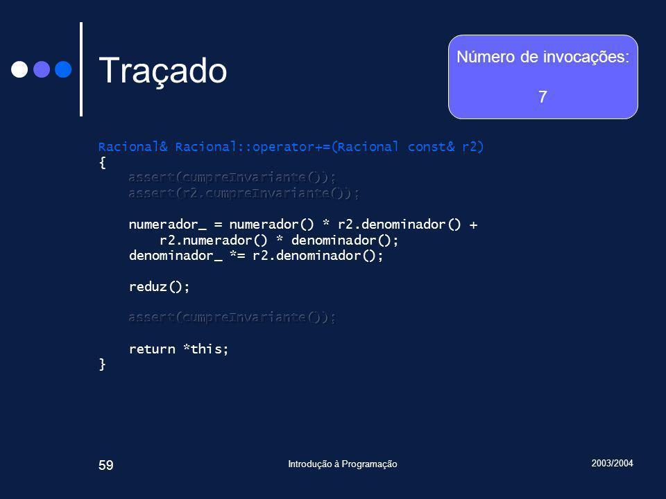 2003/2004 Introdução à Programação 59 Traçado Número de invocações: 7