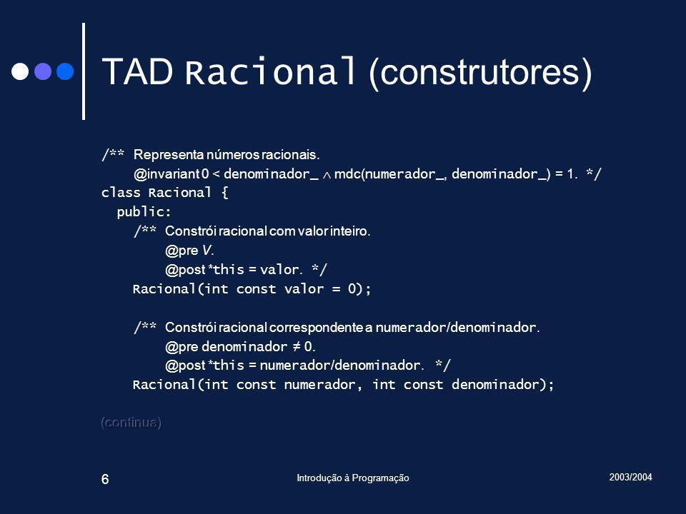 2003/2004 Introdução à Programação 87 Traçado Racional const operator+(Racional r1, Racional const& r2) { r1 += r2; return r1; } Devolução por valor implica cópia.