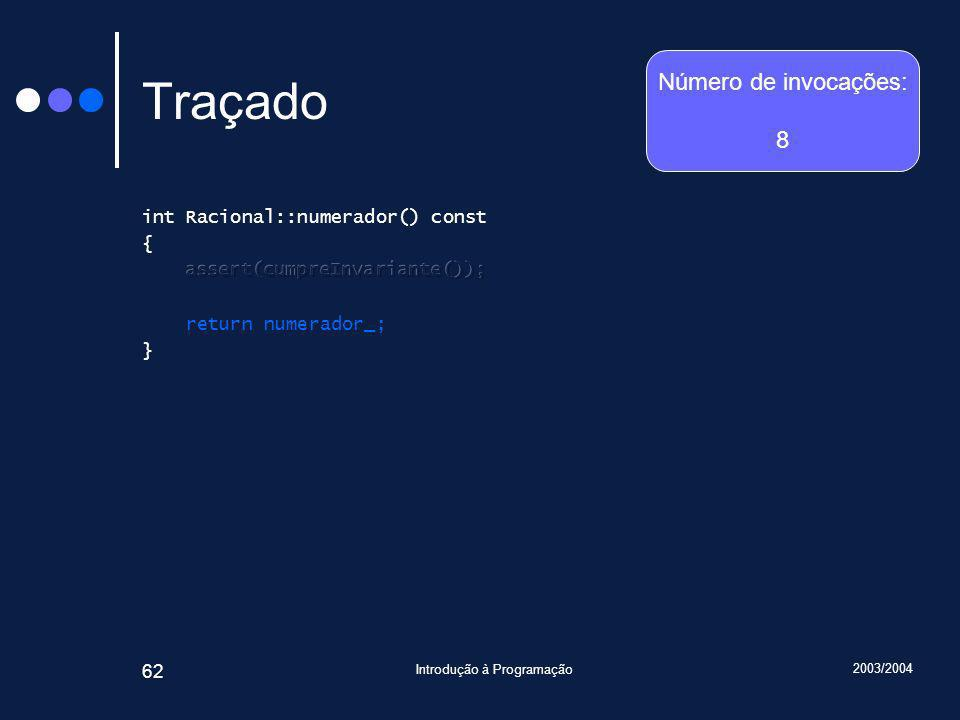 2003/2004 Introdução à Programação 62 Traçado Número de invocações: 8