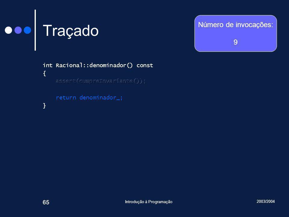 2003/2004 Introdução à Programação 65 Traçado Número de invocações: 9