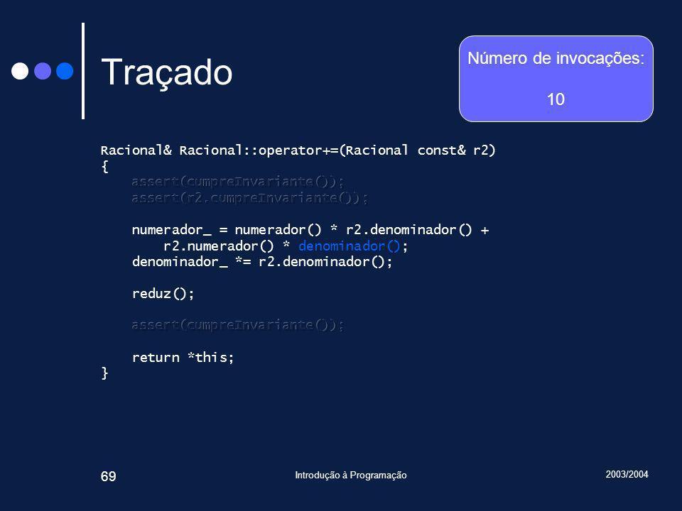 2003/2004 Introdução à Programação 69 Traçado Número de invocações: 10