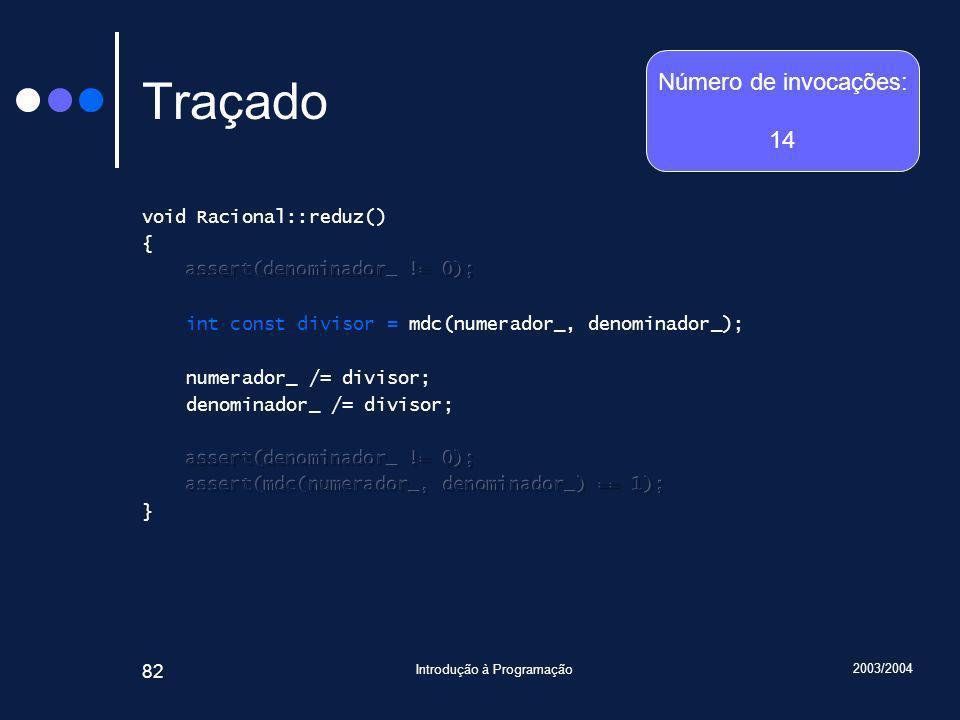 2003/2004 Introdução à Programação 82 Traçado Número de invocações: 14