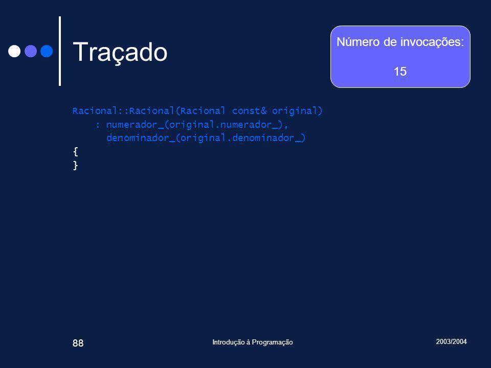 2003/2004 Introdução à Programação 88 Traçado Racional::Racional(Racional const& original) : numerador_(original.numerador_), denominador_(original.denominador_) { } Número de invocações: 15
