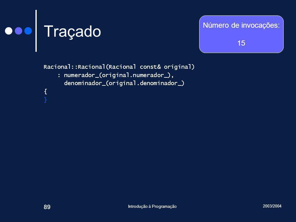 2003/2004 Introdução à Programação 89 Traçado Racional::Racional(Racional const& original) : numerador_(original.numerador_), denominador_(original.denominador_) { } Número de invocações: 15