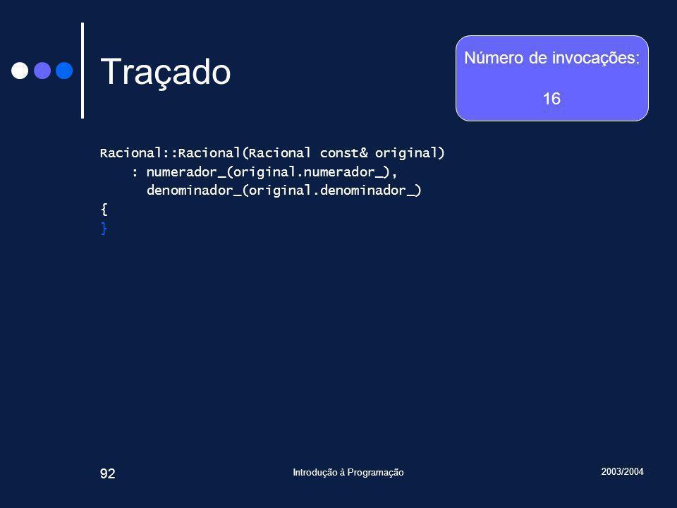 2003/2004 Introdução à Programação 92 Traçado Racional::Racional(Racional const& original) : numerador_(original.numerador_), denominador_(original.denominador_) { } Número de invocações: 16