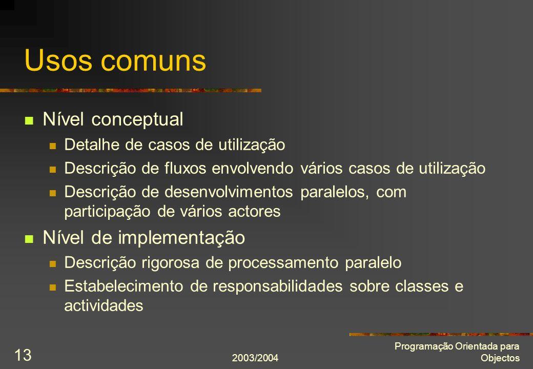 2003/2004 Programação Orientada para Objectos 13 Usos comuns Nível conceptual Detalhe de casos de utilização Descrição de fluxos envolvendo vários cas