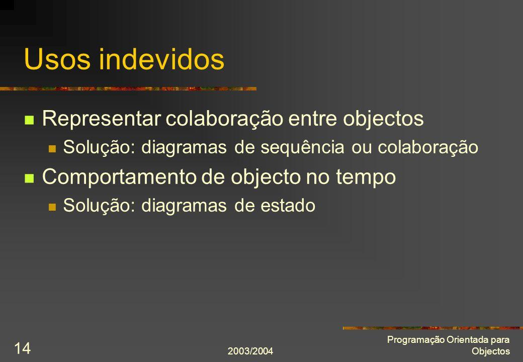 2003/2004 Programação Orientada para Objectos 14 Usos indevidos Representar colaboração entre objectos Solução: diagramas de sequência ou colaboração