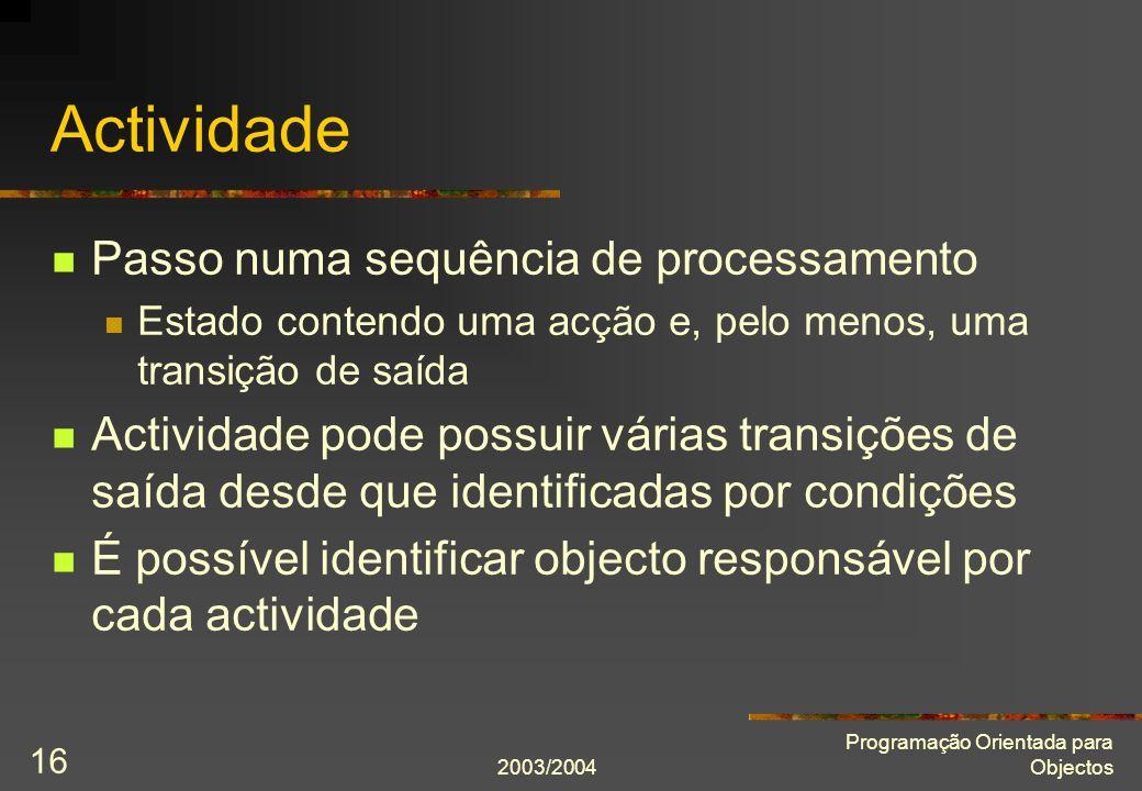2003/2004 Programação Orientada para Objectos 16 Actividade Passo numa sequência de processamento Estado contendo uma acção e, pelo menos, uma transiç