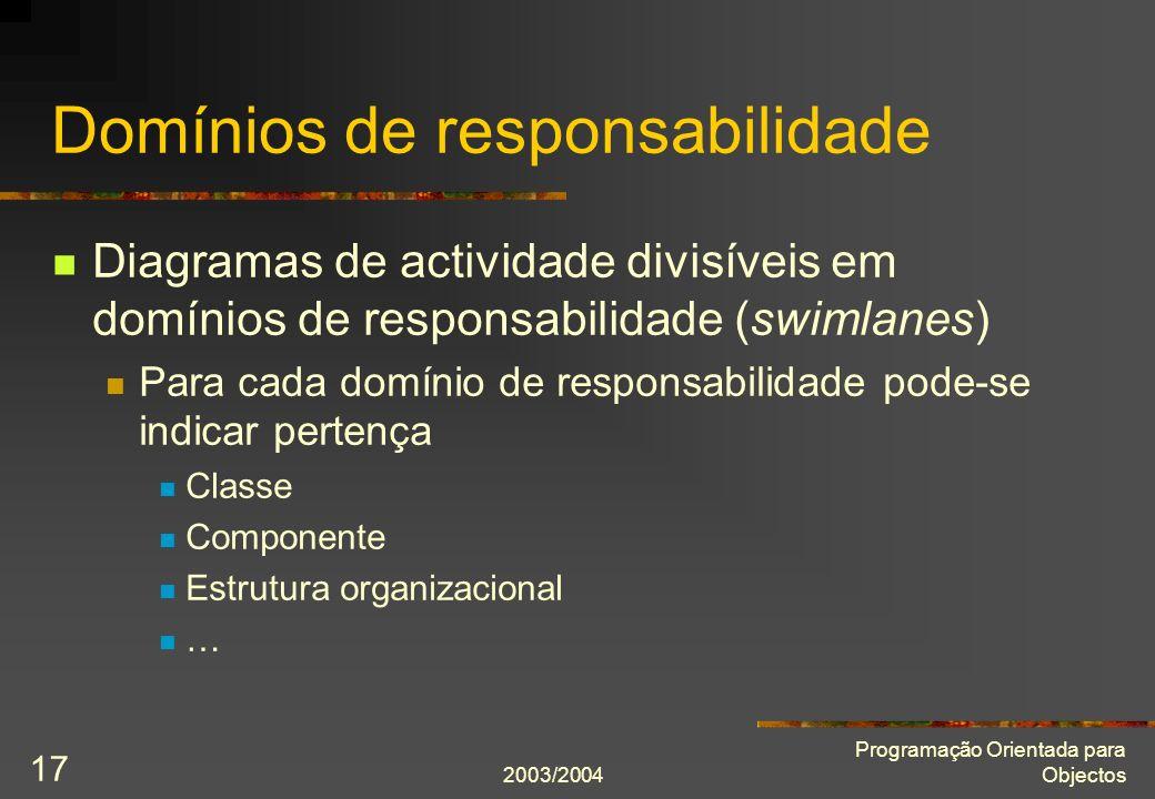 2003/2004 Programação Orientada para Objectos 17 Domínios de responsabilidade Diagramas de actividade divisíveis em domínios de responsabilidade (swim