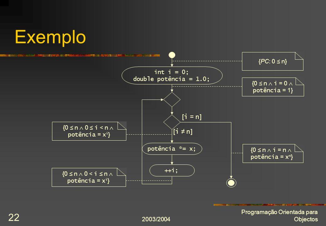 2003/2004 Programação Orientada para Objectos 22 Exemplo ++i; [ i n ] [ i = n ] int i = 0; double potência = 1.0; potência *= x; {PC: 0 n } {0 n i = 0