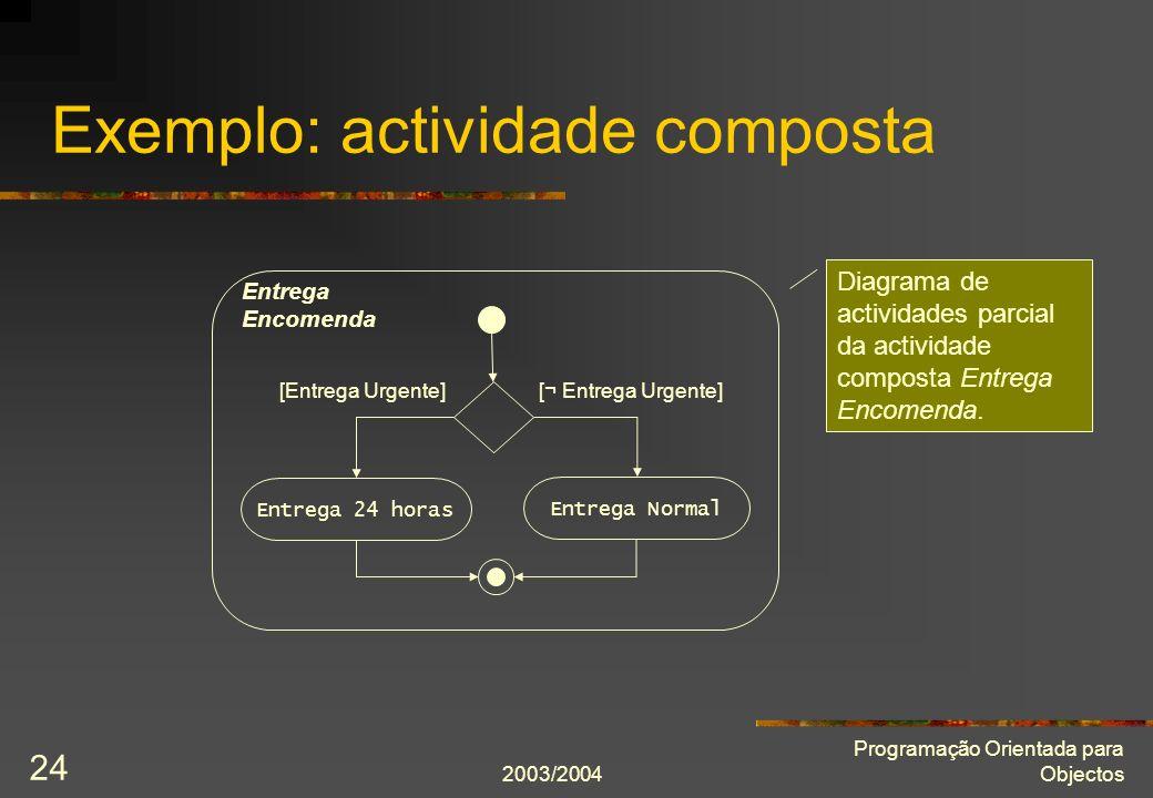 2003/2004 Programação Orientada para Objectos 24 Exemplo: actividade composta [Entrega Urgente] Entrega 24 horas Entrega Normal [¬ Entrega Urgente] En
