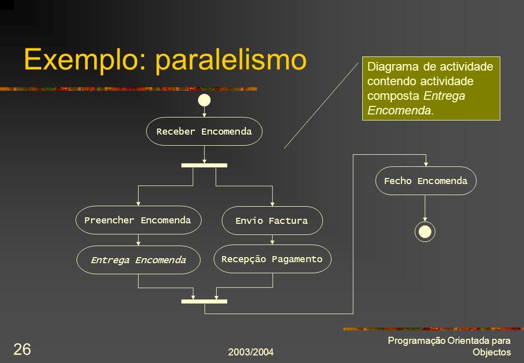 2003/2004 Programação Orientada para Objectos 26 Exemplo: paralelismo Receber Encomenda Preencher Encomenda Envio Factura Fecho Encomenda Recepção Pag