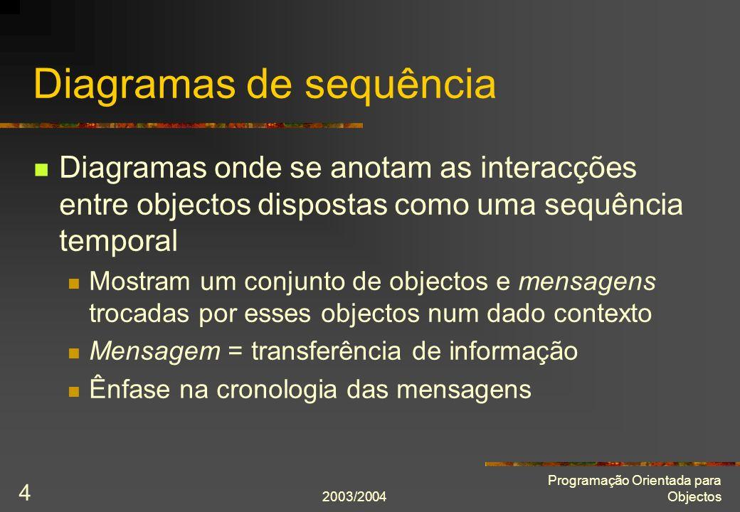 2003/2004 Programação Orientada para Objectos 4 Diagramas de sequência Diagramas onde se anotam as interacções entre objectos dispostas como uma sequê