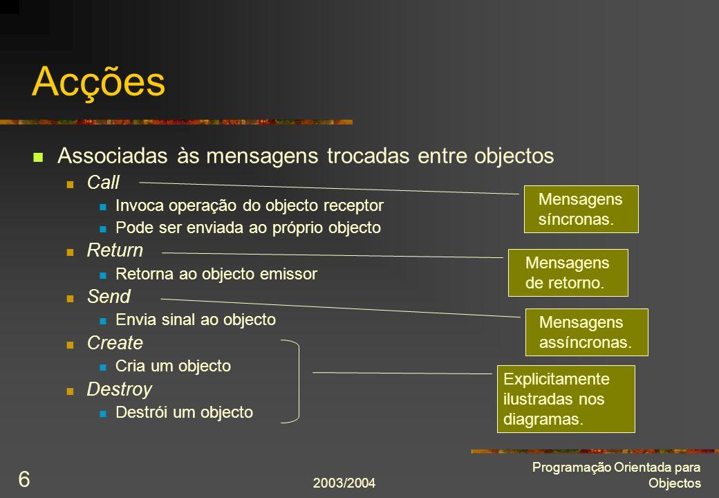 2003/2004 Programação Orientada para Objectos 7 Diagramas de sequência Dimensão vertical denota o tempo Tempo avança no sentido descendente Objecto que envia mensagem tem de estar activo (possuir o controlo) Linhas de controlo ou activação podem ser duplicadas
